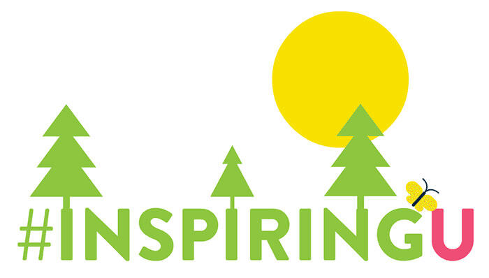 Inspiring U logo of green trees and a yellow sun.