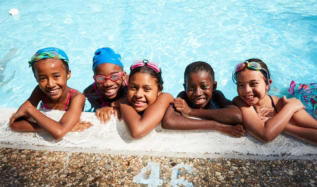 Young students in Usdan swimming pool