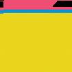 Yellow pencil shaped like a U Icon