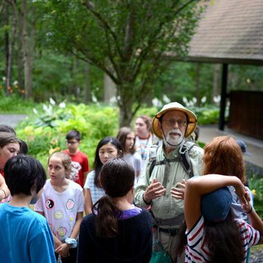 Wildman Steve Brill with Usdan Students